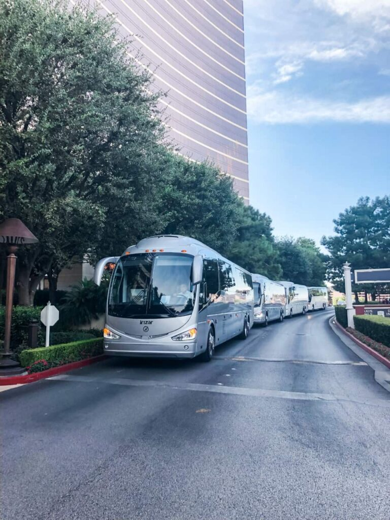 Irizar i6 lined up in front of Encore Las Vegas for a group charter.