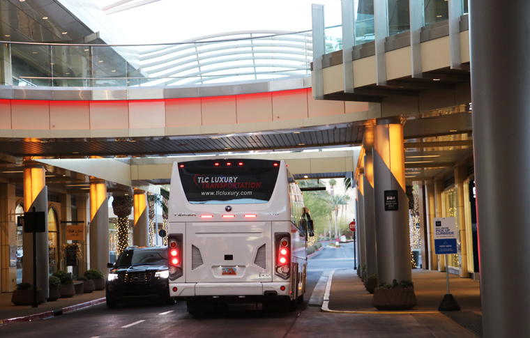 White charter bus driving with logo on back reading TLC Luxury Transportation driving underneath overpass