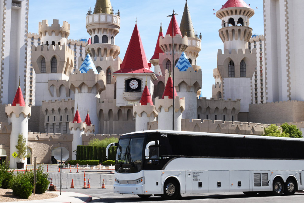 Las Vegas tour bus next to the Excalibur hotel and casino
