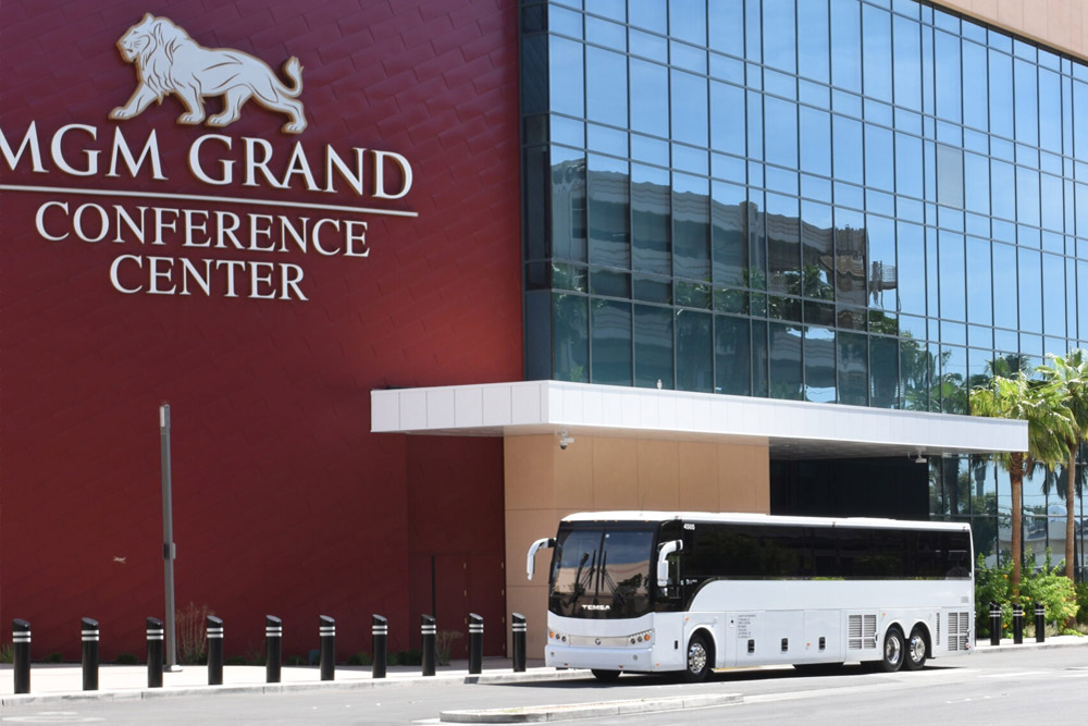 Tour Bus parked outside MGM's new conference center in Las Vegas
