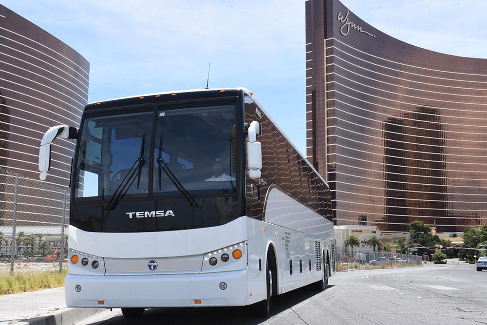 Wynn Resort Las Vegas looking down at a white charter bus