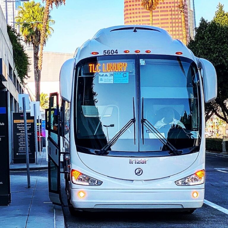 White charter bus on street with electronic sign reading TLC Luxury in top right corner of windshield. Blue skies, palm trees, and a brown building are all in the background.